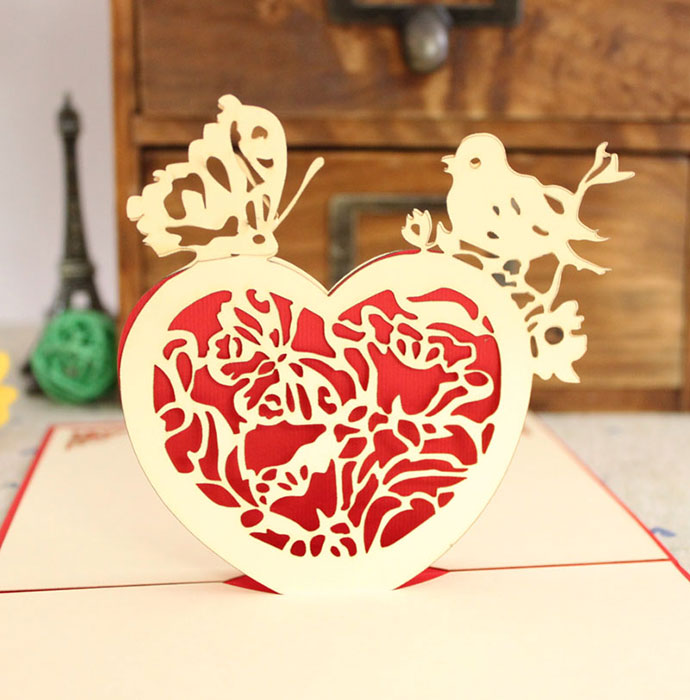 yellow heart Paper laser cutter