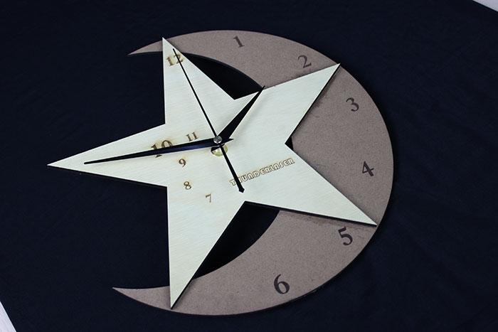 wood star clock laser cutter