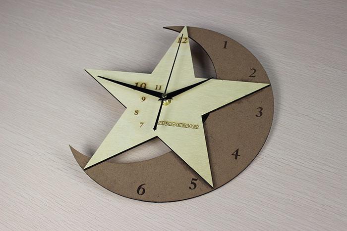 wood moon clock laser cutter