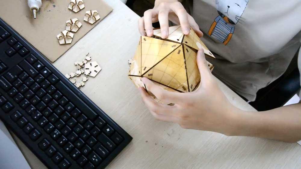 laser cutting wood globe